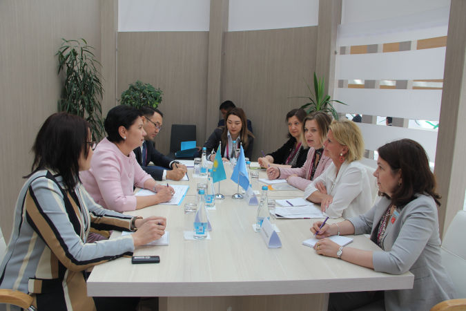 UN Women Deputy Executive Director  Åsa Régner meeting with the Deputy Prime Minister of Kazakhstan and Chair of the National Commission for Women, Family and Demographic Policy, Gulshara Abdykalikova. Photo: