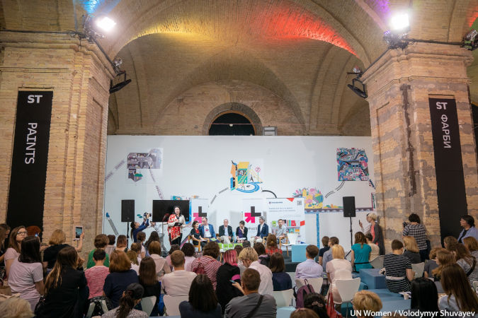 """""""Guy's Guide to Feminism"""" by Michael Kaufman and Michael Kimmel is presented at the The International Book Arsenal Festival.  UN Women/Volodymyr Shuvayev"""