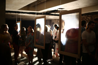 "Participants at the ""Be my face"" exhibition,  portraying stories of conflict-related sexual violence survivors in Kosovo. Photo: FemART"