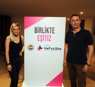 İnci Peközer (left), reporter, Fenerbahçe TV, participant of the training of trainers of gender equality and Celal Hallaç, Distributor and Wholesale Coordinator, Fenerium. Photo: Fenerbahçe Sports Club