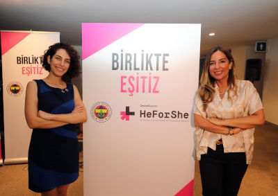 Sinem Aydın (left), HeForShe Coordinator, UN Women Turkey and Simla Türker Bayazıt (right), Board Member of Fenerbahçe Sports Club. Photo: Fenerbahçe Sports Club
