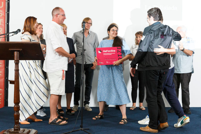 Valeria Sochyvets and Philip Sotnychenko, producer and director of film project ''La Palisiada'', received the HeForShe prize in the Pitching section of the Film Industry Office. Photo: OIFF