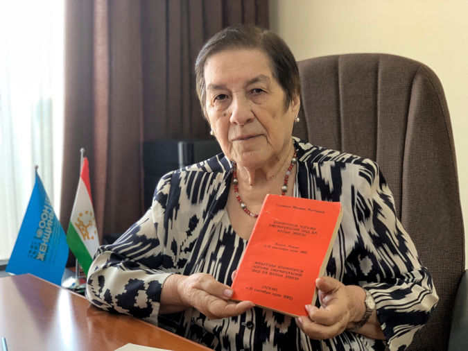 Guljahon Bobosadykova, Chairperson of the Tajik coalition, From Equality de Jure to Equality de Facto. Photo: UN Women Tajikistan/Sabrina Ahmadzoda