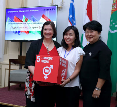 Regional Director of UN Women ECA, Alia El-Yassir, with SDG 5 Youth Ambassador, Asel Kubanychbekova, and UN Women representative in Kyrgyzstan, Ulziisuren Jamsran, during the sub-regional consultation. Photo: UN Women/Marlis Esenakunov