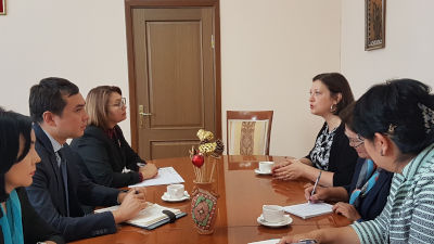 Alia El-Yassir, UN Women Regional Director for Europe and Central Asia spoke during her meeting with Altynai Omurbekova, Deputy Prime Minister of the Kyrgyz Republic. Photo: UN Women/Gulnaz Imamniyazova