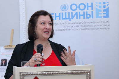 Alia El-Yassir, UN Women Regional Director for Europe and Central Asia at the opening of the second Subregional Consultations for Central Asia, Bishkek, Kyrgyz Republic. Photo: UN Women/Marlis Esenakulov
