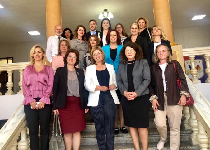 Members of the Women's Caucus, together with UN Women during their visit to Shkodra Municipality