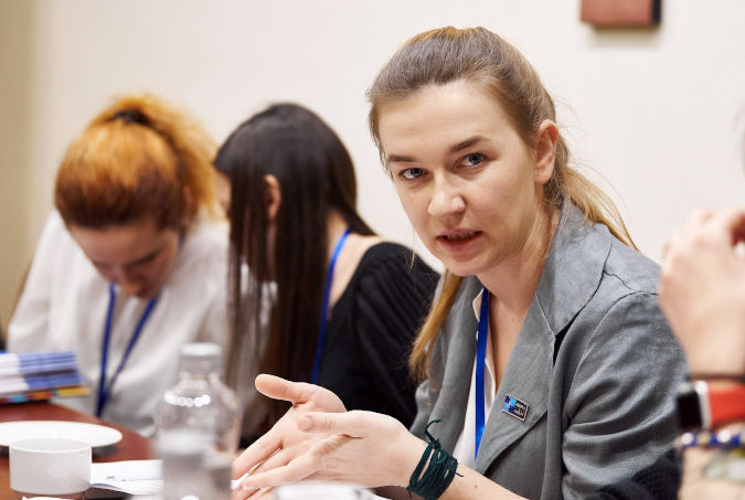 Andriana Susak, 31, discussing the amendment of the criminal code with regards to conflict-related sexual violence, on 19 June 2019 during the CRSV Conference. Photo: UN Women/Andrii Maksymov