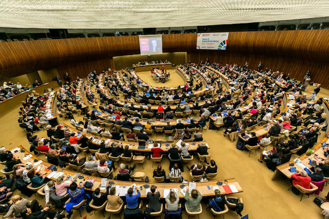 More than 700 key stakeholders gathered in Geneva to take stock of progress in gender equality. Photo: UN Women/Antoine Tardy