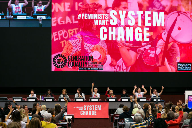 450 women's rights activists came together at the Beijing+25 to call for urgent action on gender equality. Photo: UN Women/Antoine Tardy