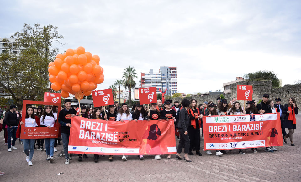 Civil society, students and the media march in the main square of the city of Elbasan during International Day for the Elimination of Violence against Women. Photo: Woman Forum Elbasan/Andi Allko
