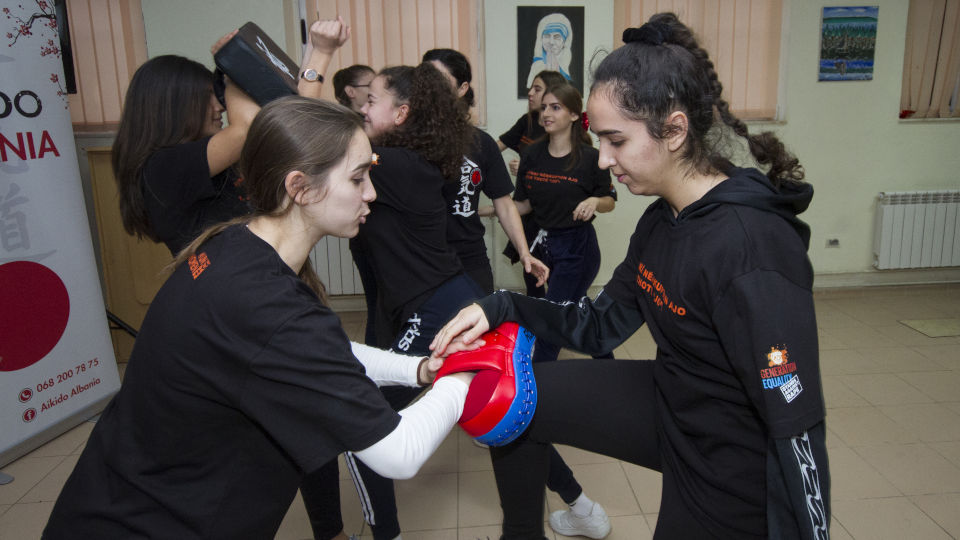 Empowerment of women and girls through self-defense. Training sessions by Aikido Albania with high school students on personal safety, teaching tools to interrupt and de-escalate violence in different forms. Photo: UN Women/Marsel Dajçi