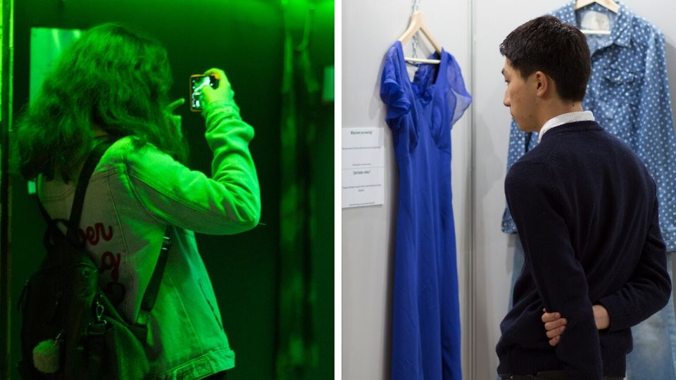 On the left: Kuboiddy Gallery, street art experience hosting the artworks of five local young artists. On the right: An installation of clothes based on stories rape survivors at a university campus in Tirana, Albania. Photos: UN Women/Marsel Dajçi
