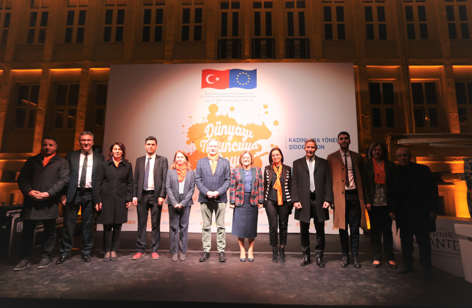Gaziantep Arts Center brought together Ms. Fatma Şahin - Mayor of Gaziantep, Mr. Alvaro Rodriguez – Officer in Charge for UN Turkey, and Ms. Asya Varbanova - UN Women Turkey Country Director. Photo: UN Women