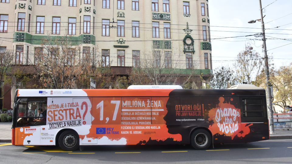 UNwomen launches street campaign to improved safety of Women in Serbia. Photo: UN Women/