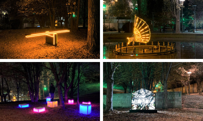 """Light the Dark"" exhibition is the first open-air lighting installation exhibition to be displayed in a public space in Turkey. Photo: UN Women Turkey"
