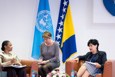 Executive Director met with the Minister of Human Rights and Refugees, Ms. Semiha Borovac. Photo: UN Women/Adnan Bubalo