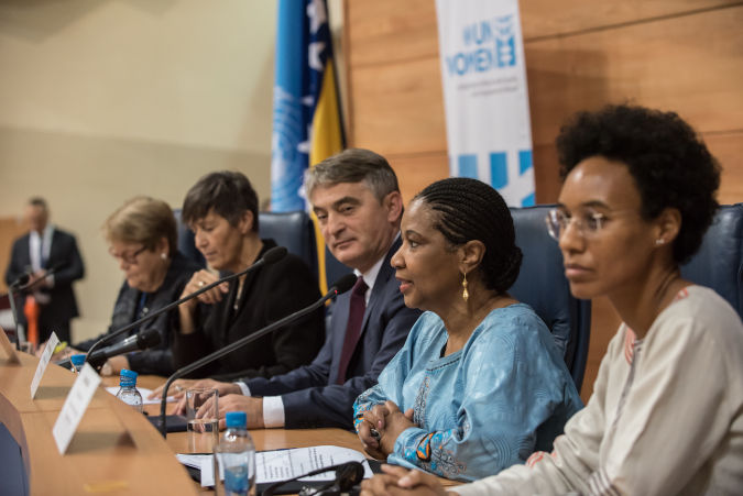 Ms. Mlambo-Ngcuka and Mr. Komšić participated in the official opening of the UN Trust Fund to End Violence Against Women Global Grantee Convention. Photo: UN Trust Fund