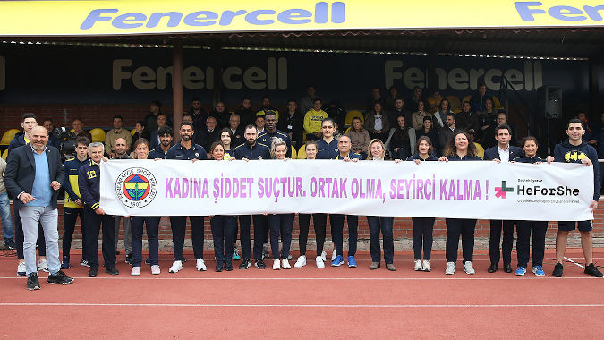Fenerbahce sports teams holding banners condemning violence against women. Photo: Fenerbahce Sports Club