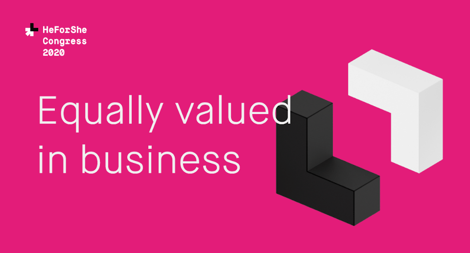 Equally valued in business, HeForShe Congress. Visual: UN Women Ukraine