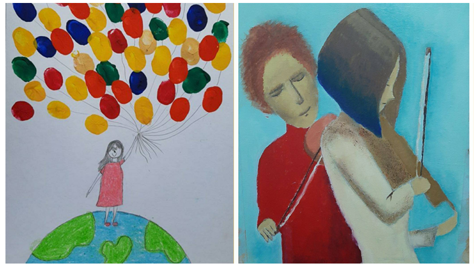Left: The winner in the most creative drawing category by Kulova Amina, 6 y.o. Right: The winner in the Best drawing category by Varvara Akymycheva, 12 y.o.