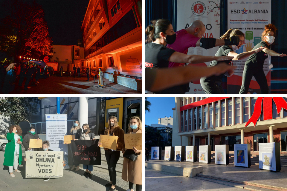 Albania marks Orange the World Campaign. Photos: UN Women Albania (Upper row & lower right), Human Rights in Democracy Center (lower left)