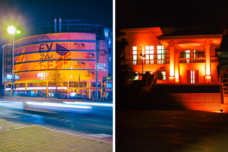 On the left: The building of the Delegation of the European Union (EUD) to the Republic of North Macedonia, Photo: EUD in North Macedonia; On the right: Presidential residence Vila Vodno in orange, Photo: Office of the President of the Republic of North Macedonia.