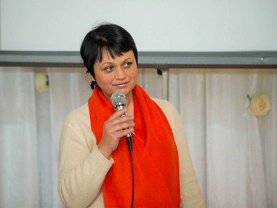 "Rodica Carpenco speaks at the opening event of the ""16 days of activism against gender-based violence"" campaign in 2016. Photo: UN Women Moldova/Dorin Goian"