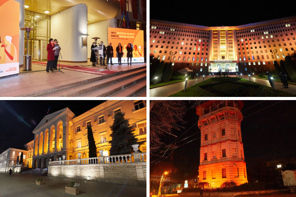 UN Women Moldova launched oranging the public buildings in several locations of the country.