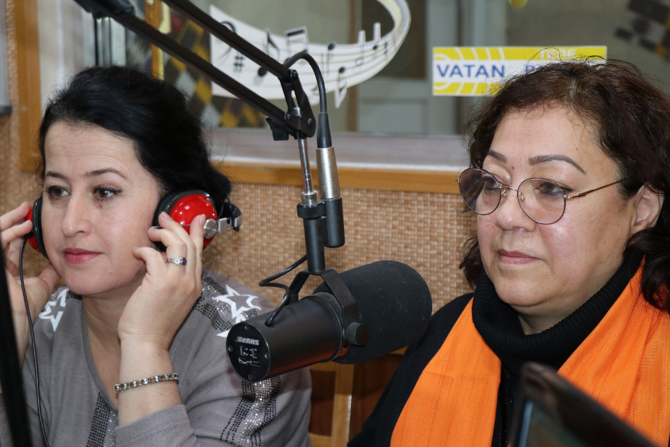Live radio show with representatives of local CSO's on the topic of gender-based violence and women rights, Dushanbe, 9 December 2020. Photo: UN Women/Guljahon Hamroboyzoda