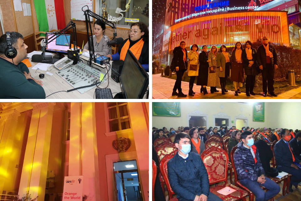 "Across cities and towns, Tajiks join forces against gender-based violence as part of the global 16-days campaign. Photos: UN Women/Guljahon Hamroboyzoda (upper row); UN RCO in Tajikistan (lower left hand corner); CSO ""Mumtoz""/Rukhsona Shaobiddinova (lower right hand corner)"
