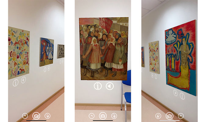 Users can move to a virtual gallery wherever they are, at home or on the street. The application is available in Ukrainian and English. Screenshot collage by UN Women Ukraine
