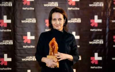 Director, scriptwriter, curator Natalia Vorozhbit received the award  in the category of women in theater and film. Photo: Nikita Yurenev