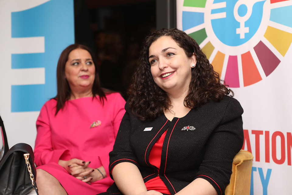 Vjosa Osmani, Assembly President, and Vlora Dumoshi, Minister of Culture, Youth, and Sports sharing their views on the importance of gender equality and women's empowerment with the audience.