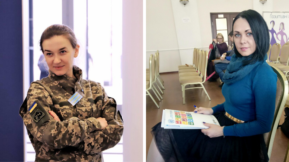 On the left: Andriana Susak represents Ukraine's Women Veteran Movement, a group formed by female veterans to advocate for their rights. Photo: UN Women/Andriy Maksymov. On the right: Olena Shepeleva runs a support group for women living with HIV. Photo courtesy of Olena Shepeleva.