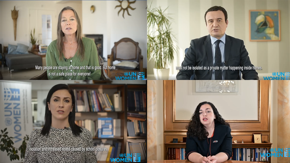 Top left: UNDC Ulrika Richardson joined the campaign calling on relevant actors to work towards the protection of survivors. Top right: Kosovo Prime minister Albin Kurti joined the UN Women campaign against Domestic Violence. Bottom left: UN Women Head of Office Vlora Nushi in her video address emphasized that violence is not a private matter. Bottom right: The first woman Assembly Speaker Vjosa Osmani, joined the UN Women campaign against Domestic Violence urging everyone to report violence. Photo: UN Women Kosovo.