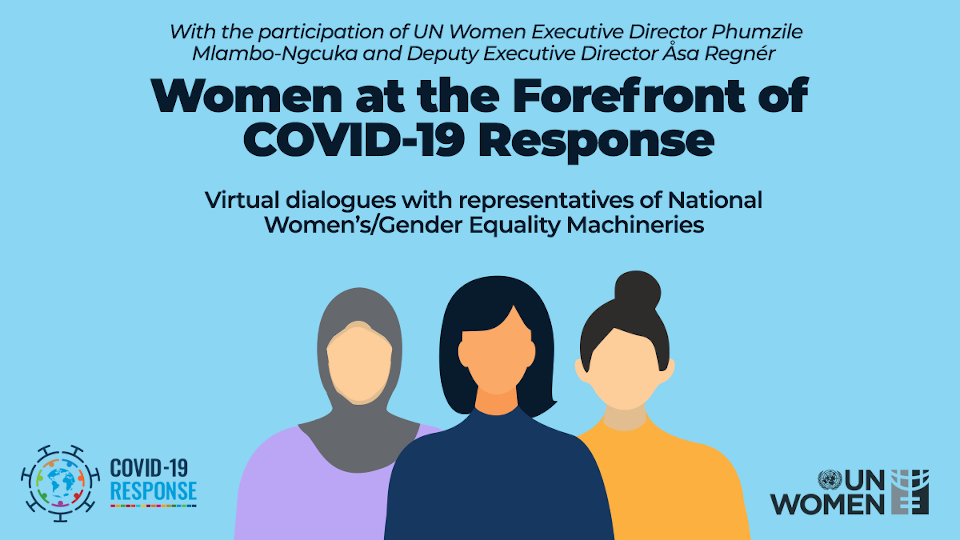 A virtual meeting brought together highest-level UN Women officials with representatives of National Gender Equality Machineries from the Western Balkans, Turkey, Eastern Europe, the Caucasus and Central Asia. Design: UN Women