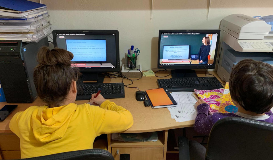 Children follow distance learning classes. Photo: Erblina Dinarama, Safe House