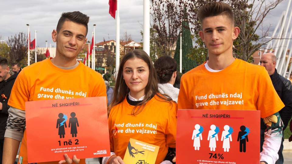 Orange the World 2018 - Albania. Students marching in Belsh, Albania against gender-based violence during the 16 days campaign. Photo: UN Women