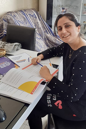Minevver Tuvarlak is one of the community leader women working from home during COVID-19. Photo: KEDV