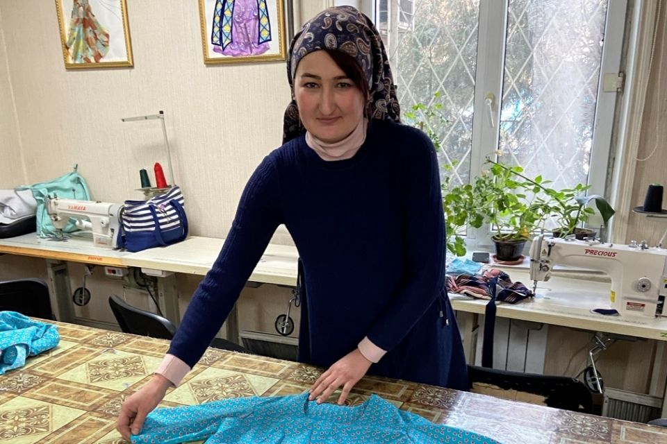 Muslima has found joy in sewing. Photo: Personal archive