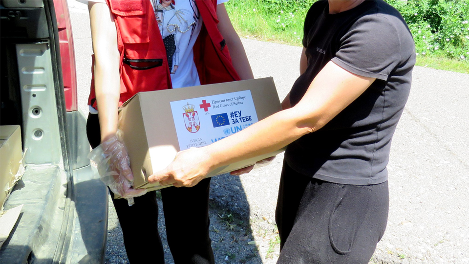 Jasna Pejic is a brave woman who said no to violence and left her husband. This package she received under the UN Women/EU project, provides her and her daughter with food and other essential supplies. Photo: Red Cross Serbia