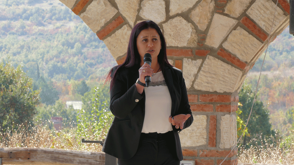 Vaska Mojsovska, President of the National Federation of Farmers during the marking of the International Day of Rural Women in 2018. Photo credits: UN Women/Ognen Dimitrovski