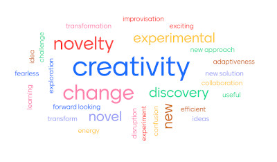 "The world cloud created by the team in the first webinar of Innovation Labs for Gender Equality, responding to the question, ""which words describe innovation?"""