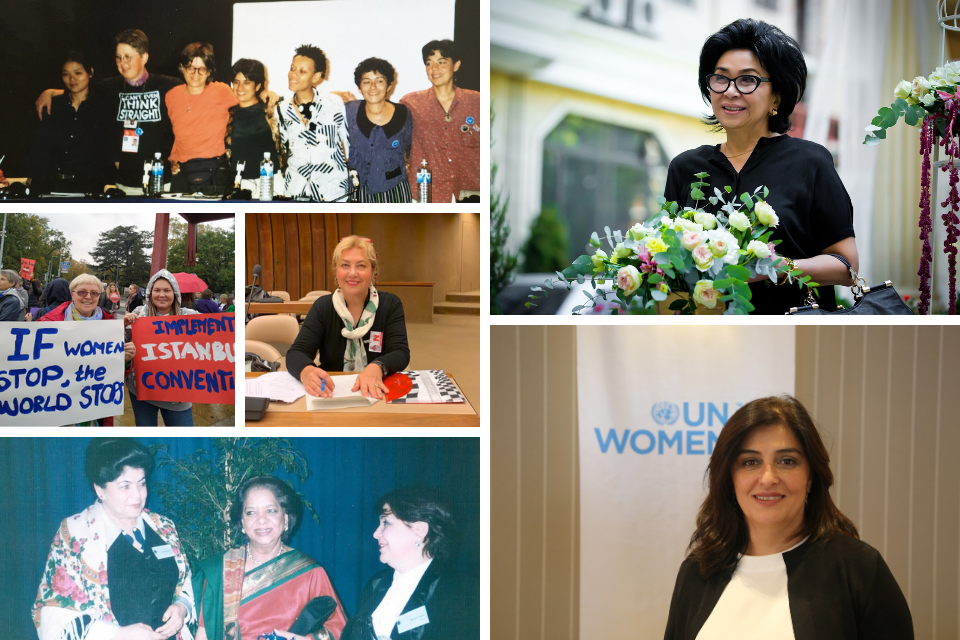 These activists were at the Beijing Conference, an experience that shaped them in their quest to build a gender-equal world. Photos: Personal archives (left hand side & upper right corner), UN Women Turkey (lower right hand corner)