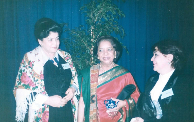 Bozgul Dotkhudoeva (on the left), at the Fourth World Conference on Women in 1995. Photo: Personal archive.
