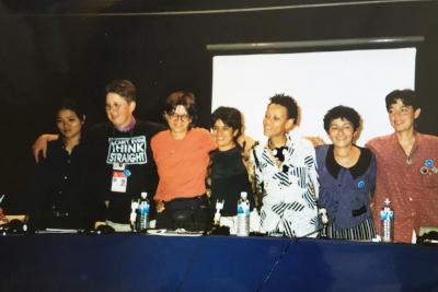 Lepa Mladjenovic (third from left) at a lesbian panel in the Beijing Women's World Conference NGO Forum, 1995. Photo: Personal archive.