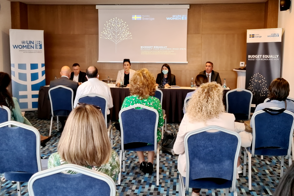 Launching of the Report-Local needs assessment related to Gender Equality, Gender Responsive Budgeting, and addressing needs during the pandemic. Photo: UN Women Kosovo