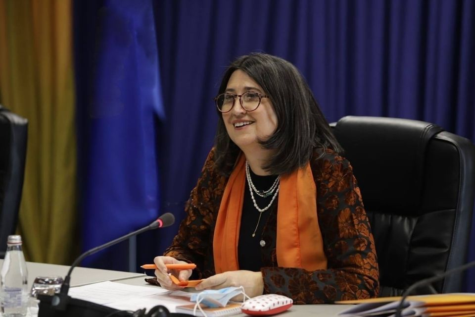 Edi Gusia is the Chief Executive of the Agency for Gender Equality. She participated in an event during the 16 Days of Activism against Gender-Based Violence campaign. Photo: Telegrafi