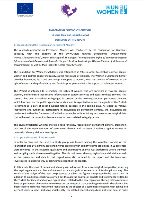 Research on Permanent Alimony in Turkey. Summary of the report.